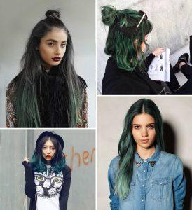 Màu xanh rêu thường được các cô nàng Hàn Quốc; với gu thời trang thời thượng ưa chuộng kết hợp cùng màu ánh khói, ánh vàng hay ombre.