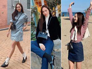 Trong street style hằng ngày, Jessica thường chọn kiểu đeo chéo để tăng thêm vẻ năng động và thoải mái di chuyển. (Ảnh: @jessica.syj)